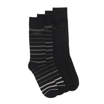 Hugo Boss Double Pack Striped Black Socks 50308097
