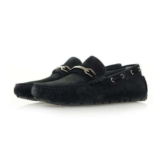 Hugo Boss Black Footwear Hugo Boss Dripin Dark Blue Suede Moccasins Shoe 50310871