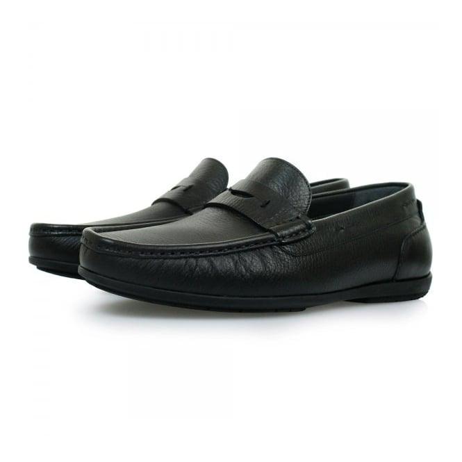 Hugo Boss Black Footwear Hugo Boss Flamio Black Leather Moccasin Shoes 50298115