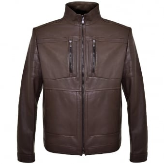 Hugo Boss Green C-Jentos Medium Brown Leather Jacket 50308948