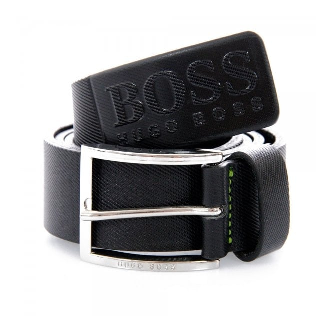 Hugo Boss Green Accessories Hugo Boss Green Ticenzo Black Leather Belt 50227524