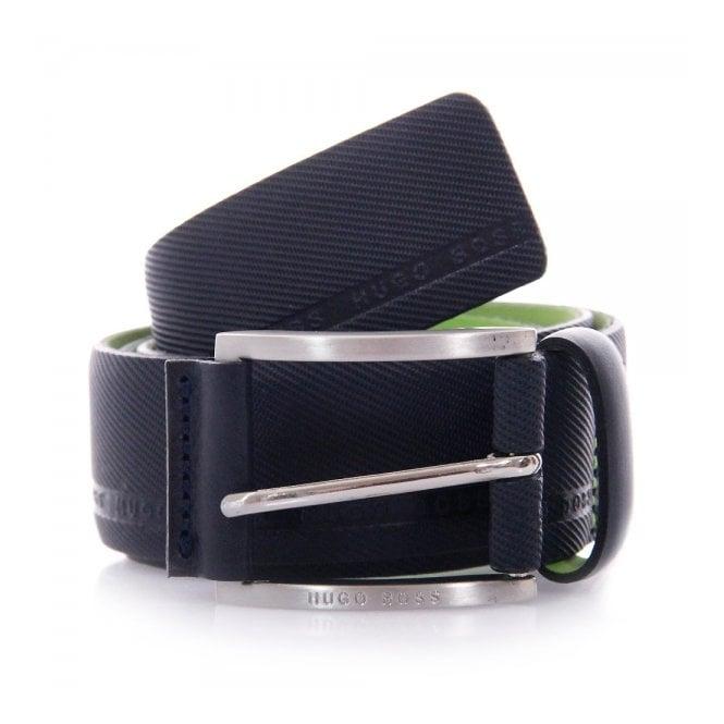 Hugo Boss Green Accessories Hugo Boss Green Tymo Cowhide Navy Belt 50280785
