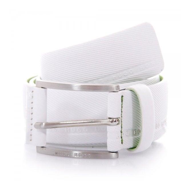 Hugo Boss Green Accessories Hugo Boss Green Tymo Cowhide White Belt 50280785