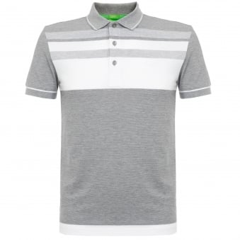 Hugo Boss Paule 2 Light Grey Striped Polo Shirt 50320603