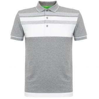 Hugo Boss Paule 2 Light Grey Striped Polo Shirt 50320603