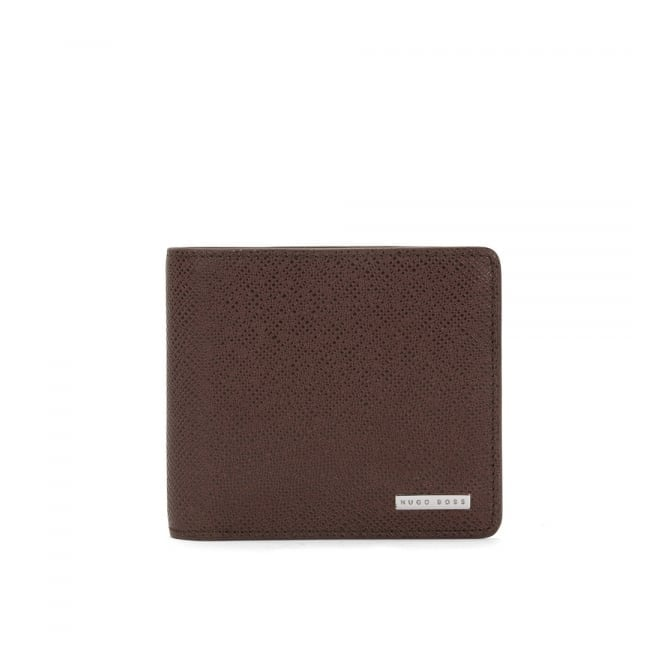Hugo Boss Black Accessories Hugo Boss Signature_4 CC Coin Dark Red Brown  Leather Wallet 50311738