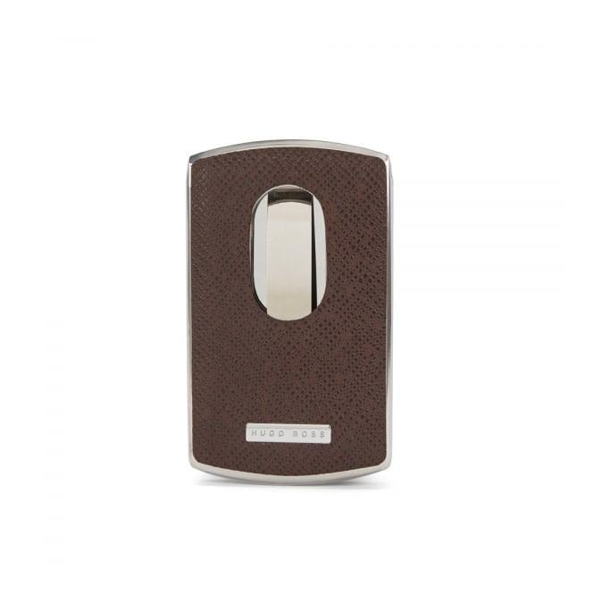Hugo Boss Black Accessories Hugo Boss Signature Dark Brown Metal Card Holder 50311750