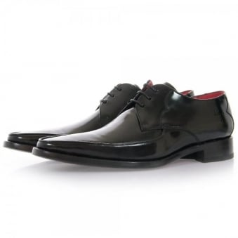 Jeffery West Get Back Harrison Black Polish Leather Shoes