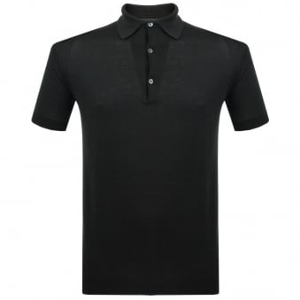 John Smedley Adrian Black Knitted Polo Shirt P1