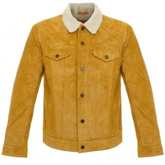 Levi's Trucker Sherpa Camel Suede Jacket 16365-0023