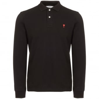 Black Long Sleeve de Coeur Polo Shirt