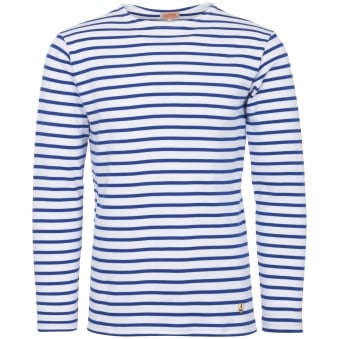White & Blue Star Long Sleeved Breton Sailor T-Shirt