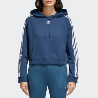 Womens Mineral Blue Cropped Hoodie