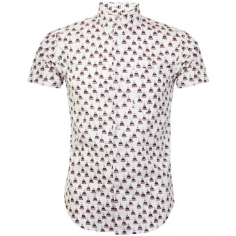 Naked and Famous Teepee Print White Shirt 120851130