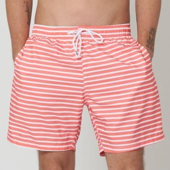 Red New Brighton Mid Length Swim Shorts