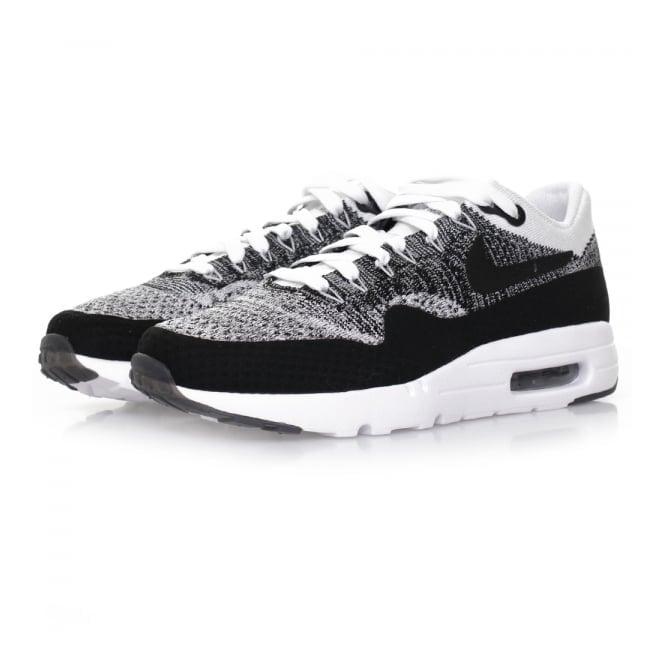 Nike Air Max 1 Flyknit White Black Shoe 843384 100