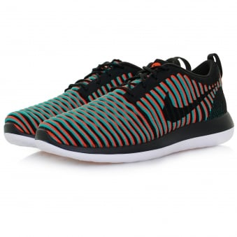 Nike Roshe Two Flyknit Black Bright Crimson Shoe 844833 003