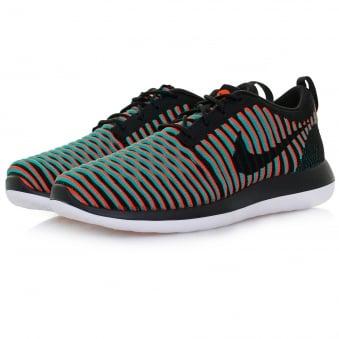 Nike Roshe Two Flyknit Black Bright Crimson Shoe 844833 003