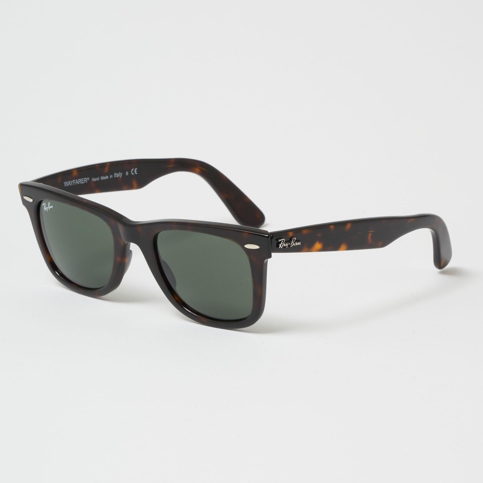 Tortoise Original Wayfarer Classic Sunglasses - Green Classic G-15 Lenses 0dce4e5875