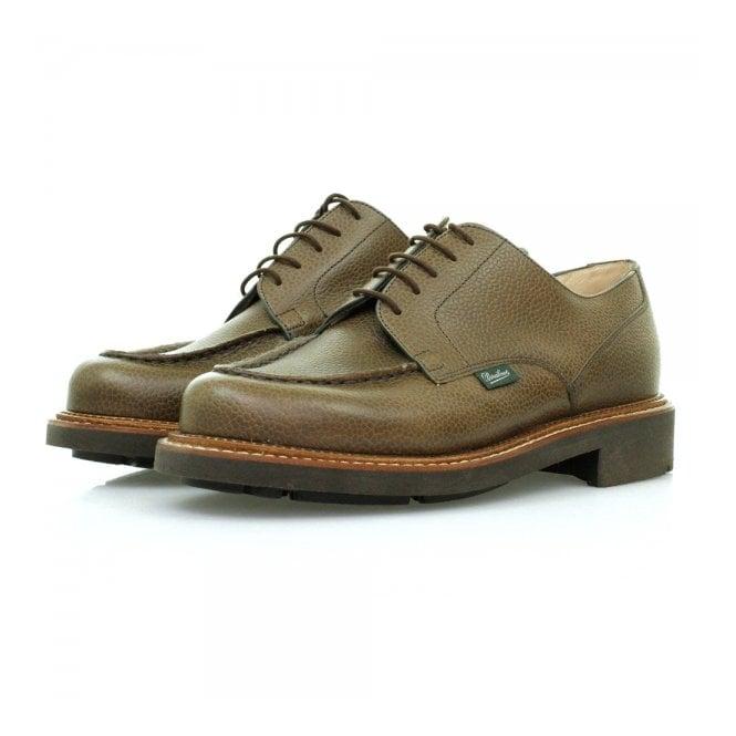 Paraboot Chambord Marron Grain Khaki Leather Shoes 157831