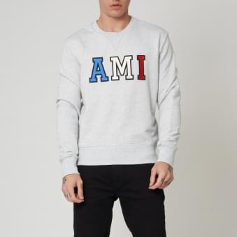 Patched AMI Letters Sweatshirt - Gris Chine