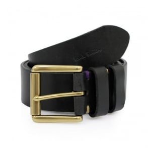 Paul Smith Double Keeper Black Leather Belt AKXA-2528-B154A
