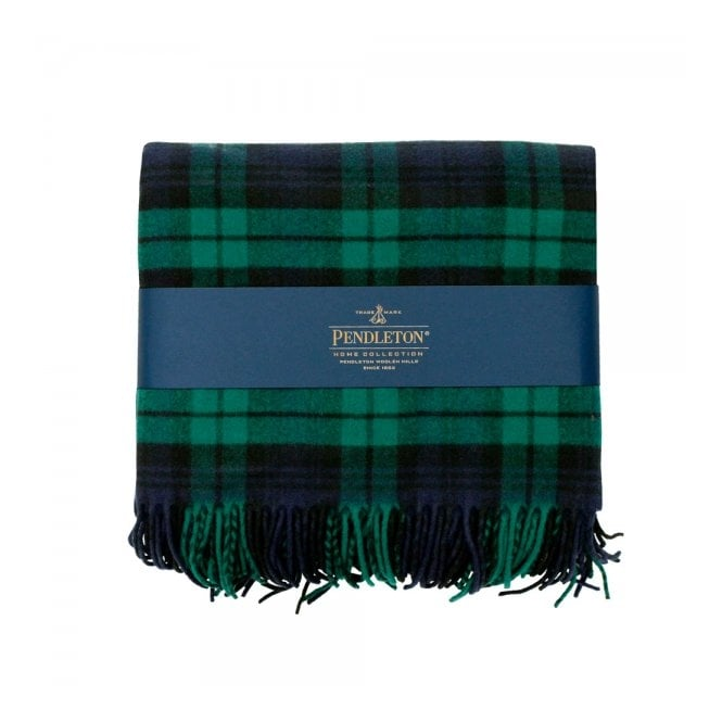 Pendleton Woolen Mills Pendleton Plaid 5th Avenue Throw Black Watch Green Blanket 71014