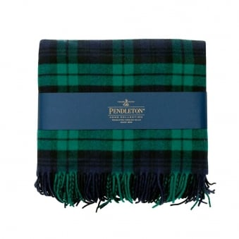 Pendleton Plaid 5th Avenue Throw Black Watch Green Blanket 71014