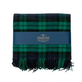 Pendleton Plaid 5th Avenue Throw Black Watch Green Blanket 71014