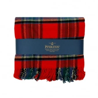 Pendleton Plaid 5th Avenue Throw Red Stweard Blanket 71014