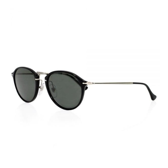 Persol PO3046 S Round Black Polarized Sunglasses
