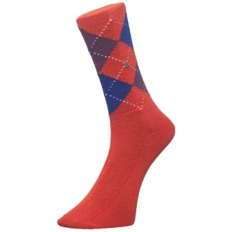 Red Preston Argyle Socks