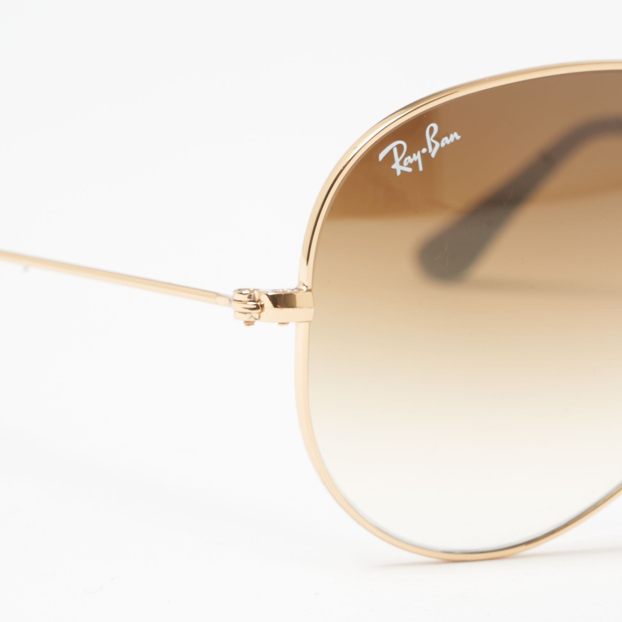ray ban aviator gold frame light brown gradient