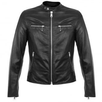 Replay Zip Black Leather Biker Jacket M8830 000 82246