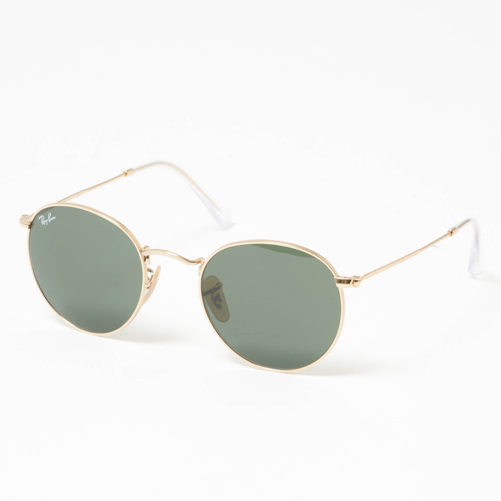 Round Metal Sunglasses Green Classic G 15 Lenses