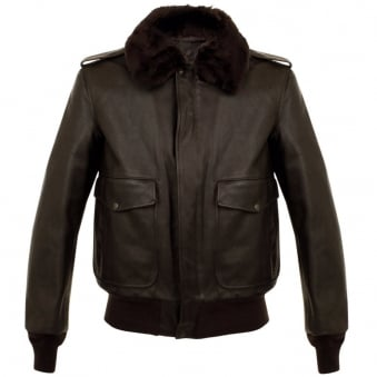 Schott NYC A-2 Naked Cowhide Brown Leather Flight Jacket 184SM