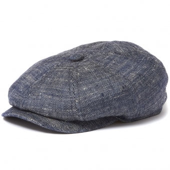 Silk Denim Newsboy Cap- Navy