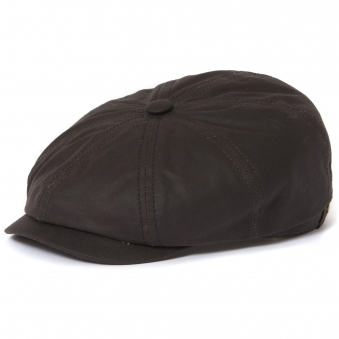 Stetson Hatteras Waxed Cotton Black Newsboy Cap 6841101