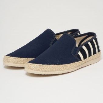 Striped Canvas Espadrilles - Navy & Natural