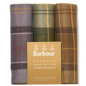Three Pack Tartan Handkerchief Set
