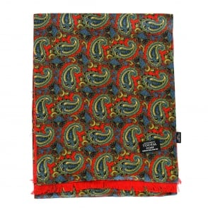 Tootal Vintage Red Multi Paisley Silk Scarf TL1922 068