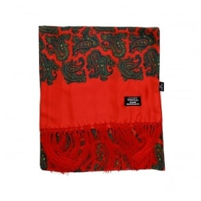 Tootal Vintage Wine Mixed Paisley Silk Scarf TL5904