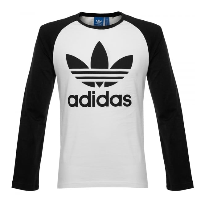Adidas originals online trefoil ls white t shirt for Adidas long sleeve t shirt with trefoil logo