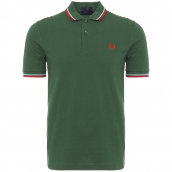 Tartan Green Twin Tipped Polo Shirt