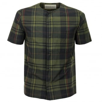 Universal Works Baseball Madras Check Olive Shirt 16140