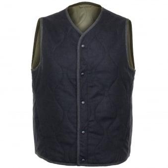Universal Works Fresh Water Wool Navy / Olive Gilet 15157