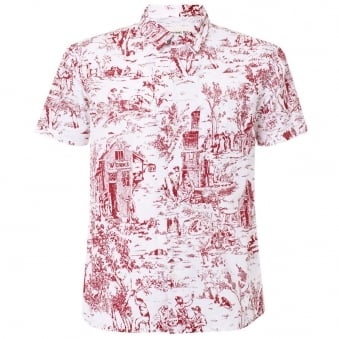 Universal Works Red Printed Poplin Road Shirt 12162