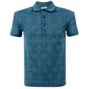 Versace Aztec Blue Fantasia Polo Shirt V800543
