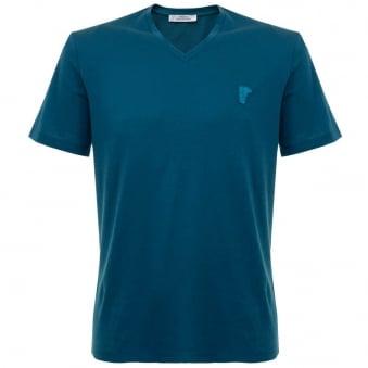 Versace Half Medusa Ottanio V-Neck T-Shirt v800490