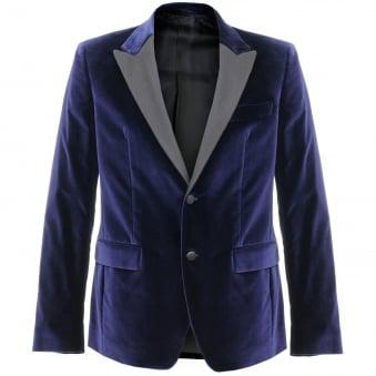 Versace Velour Navy Blazer V120129